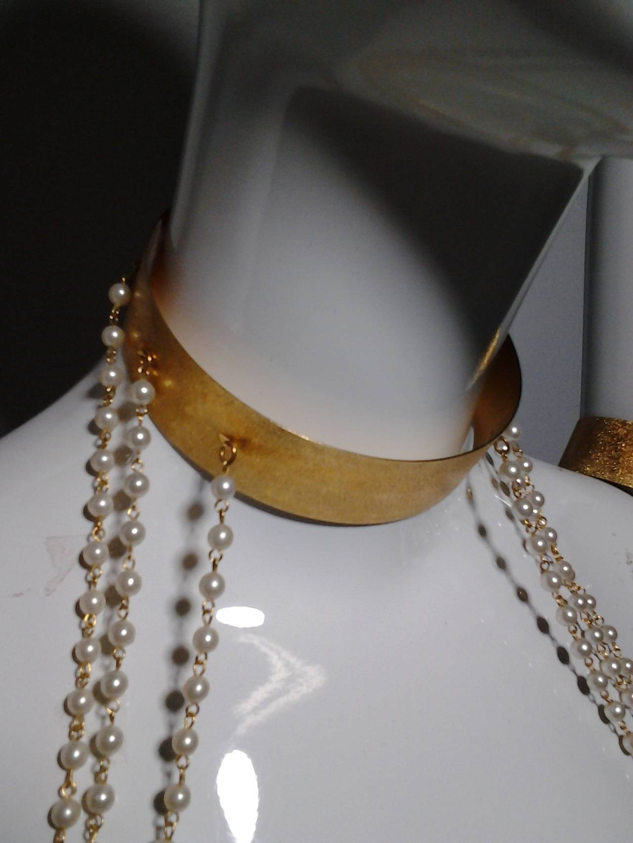 """1960s """"Cleopatra"""" Arm Cuffs and Choker In Faux Pearl and Brushed Gold 5"""