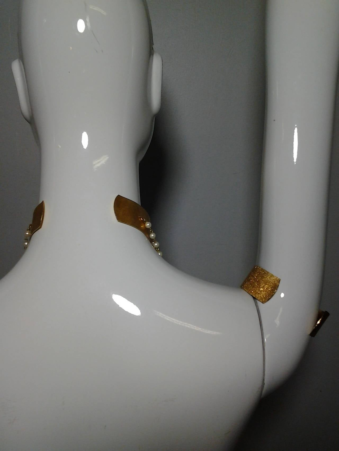 """1960s """"Cleopatra"""" Arm Cuffs and Choker In Faux Pearl and Brushed Gold 6"""