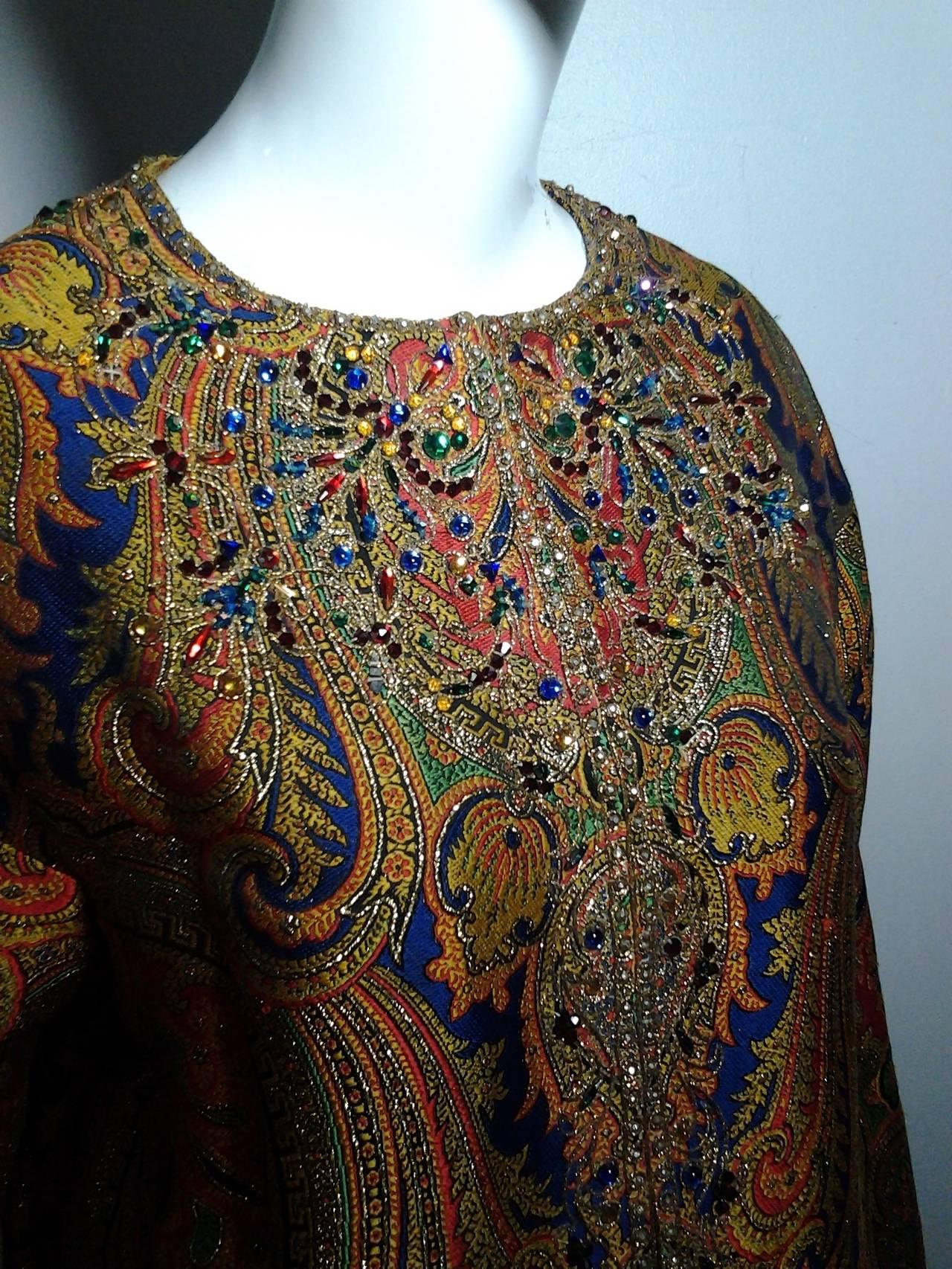 1960s Nina Ricci Haute Couture Silk Paisley Brocade Opera Coat 7