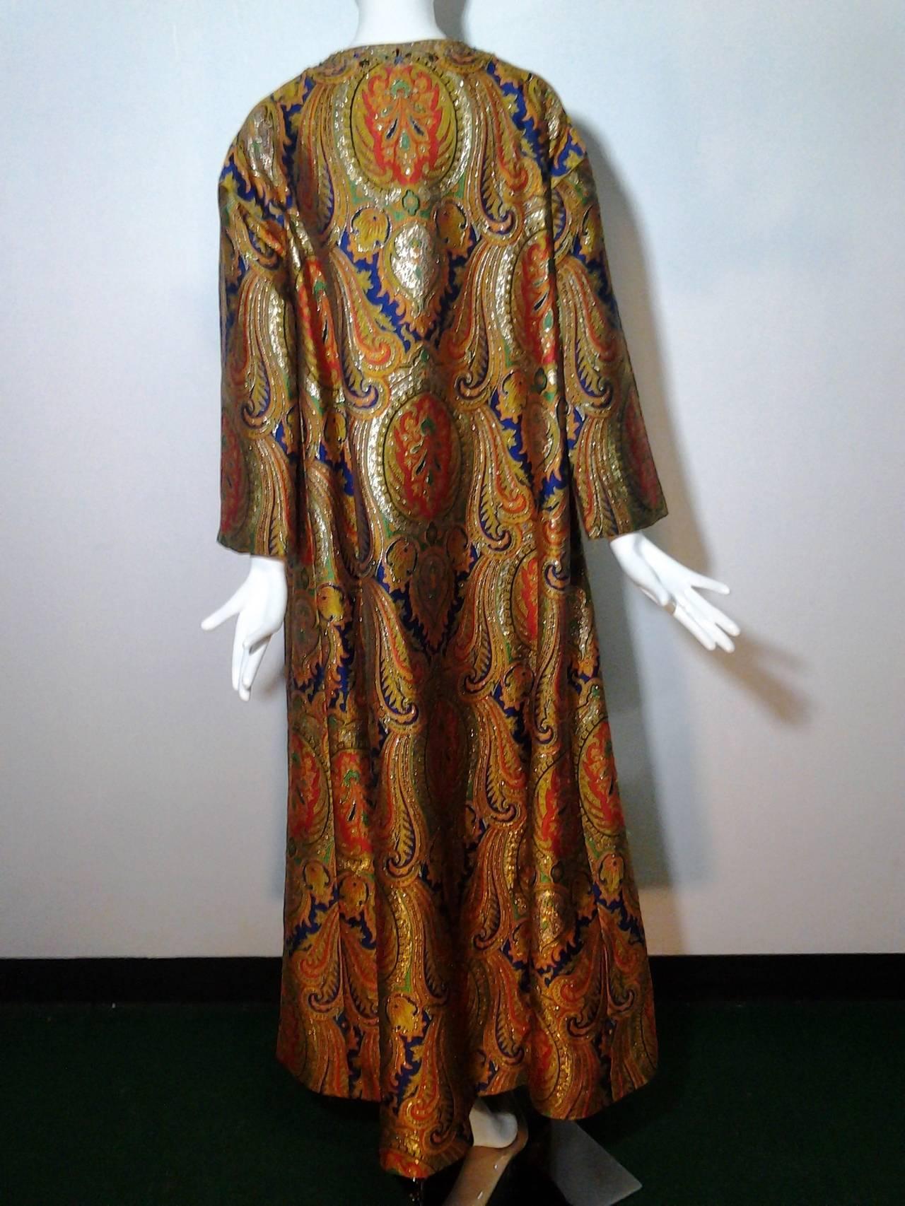 1960s Nina Ricci Haute Couture Silk Paisley Brocade Opera Coat 5