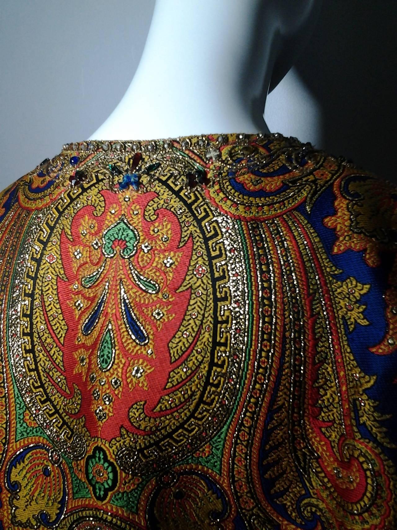 1960s Nina Ricci Haute Couture Silk Paisley Brocade Opera Coat 6