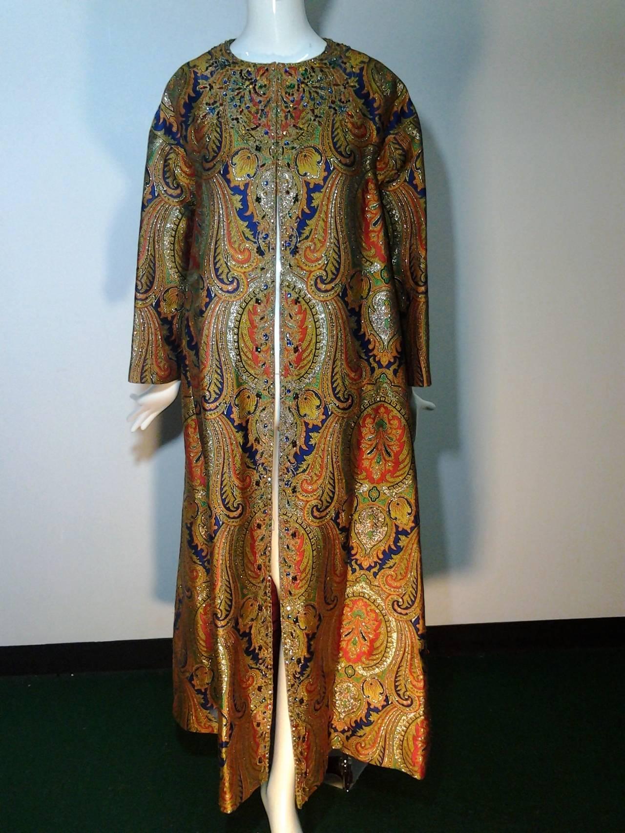 1960s Nina Ricci Haute Couture Silk Paisley Brocade Opera Coat 3