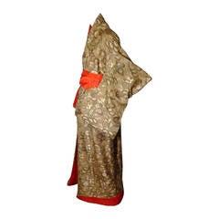 Japanese Uchikake Bridal Kimono Coat - Gold Silk Brocade