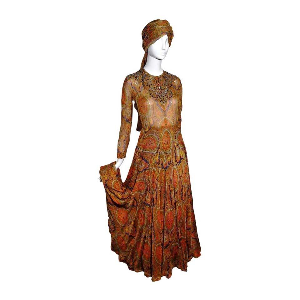 1960s Haute Couture Nina Ricci Paisley Silk Chiffon Gown w/ Turban 1