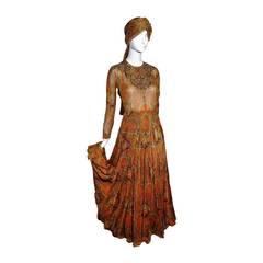 1960s Haute Couture Nina Ricci Paisley Silk Chiffon Gown w/ Turban