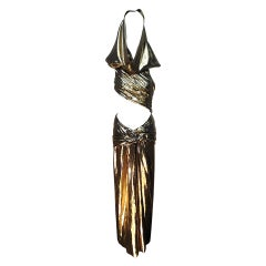1991 Iconic Yves Saint Laurent Rive Gauche Gold Lamé Hooded Evening Dress