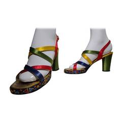 1960s Silk Satin Strappy Bejeweled Platform Evening Sandal