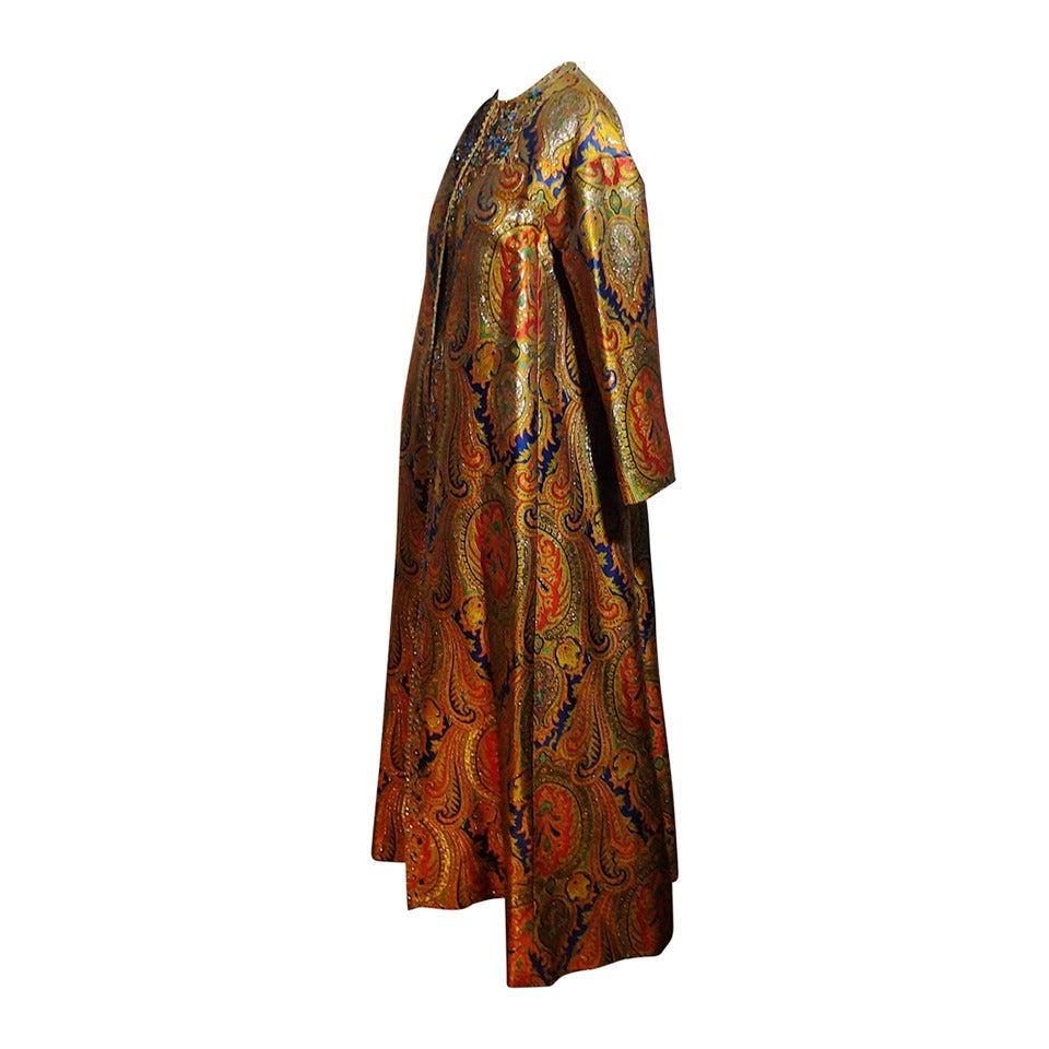 1960s Nina Ricci Haute Couture Silk Paisley Brocade Opera Coat 1