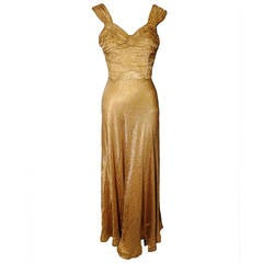 1930s Gold Lame Bias Cut Gown w/ Sexy Lace-Up Back Detail and Full Hem