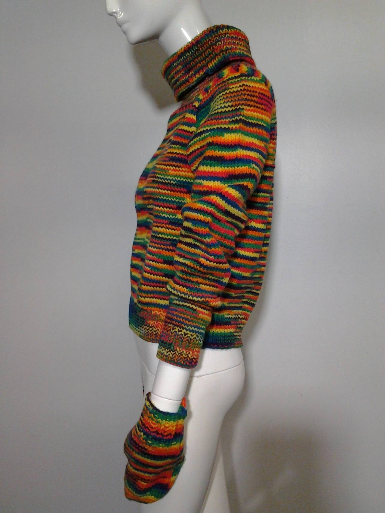 1959 Custom Knit Rainbow Wool Pullover w/ Matching Mittens In Excellent Condition For Sale In San Francisco, CA