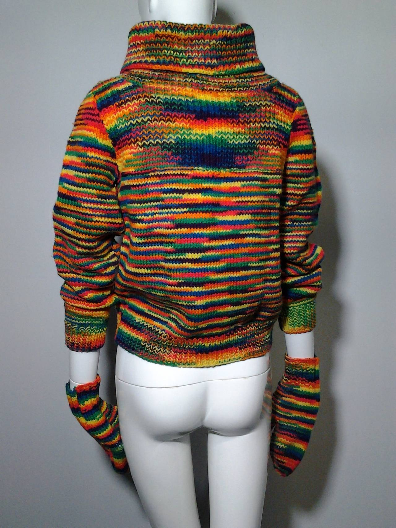 Black 1959 Custom Knit Rainbow Wool Pullover w/ Matching Mittens For Sale