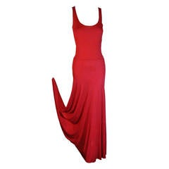 1970s Stephen Burrows Red Matte Rayon Jersey Tank Cut Disco Dress