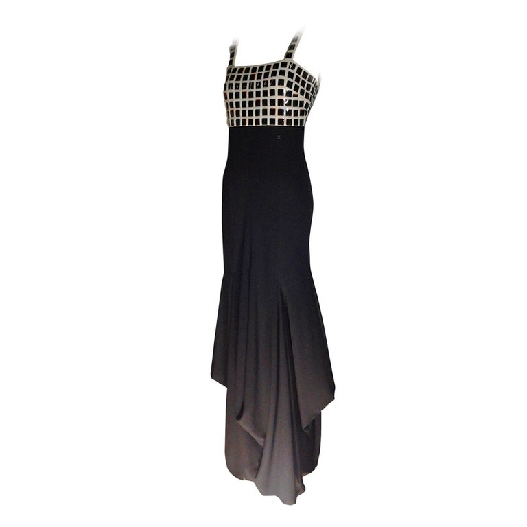 Chanel Evening Dress with Mylar Tiled Bodice and Draped Hem For Sale