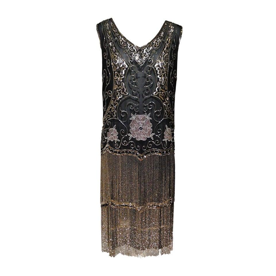 "1920s Quintessential Art Deco Glass Beaded Fringe ""Flapper"" Dress For Sale"