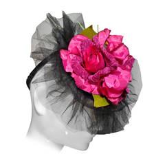 1940s Straw Tilt Hat w/ Silk Tulle and Fuchsia Roses