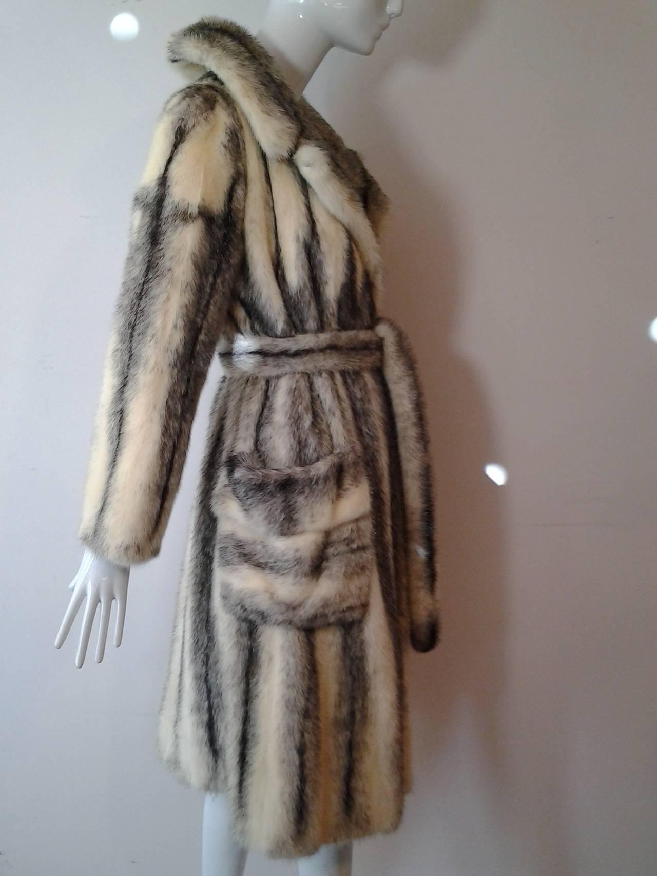 1970s Roberts Gaffney Cross Mink Trench Coat w/ Belt 4