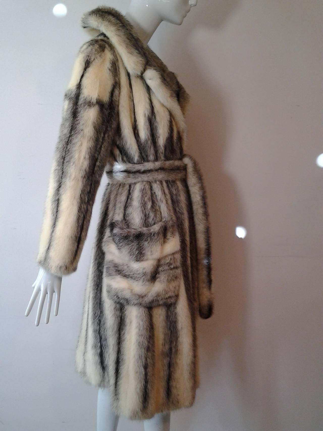 1970s Roberts Gaffney Cross Mink Trench Coat w/ Belt 2