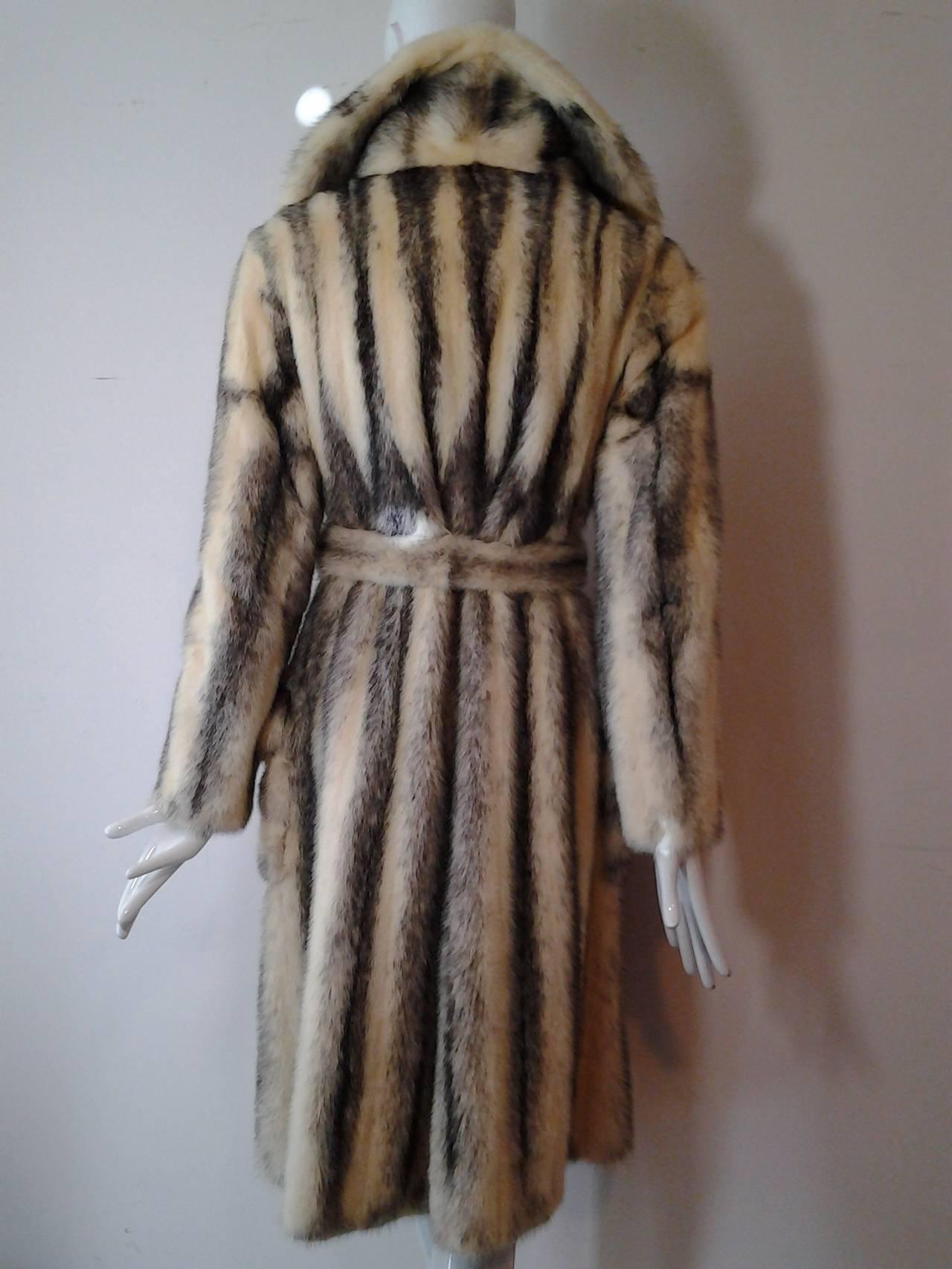 1970s Roberts Gaffney Cross Mink Trench Coat w/ Belt 3