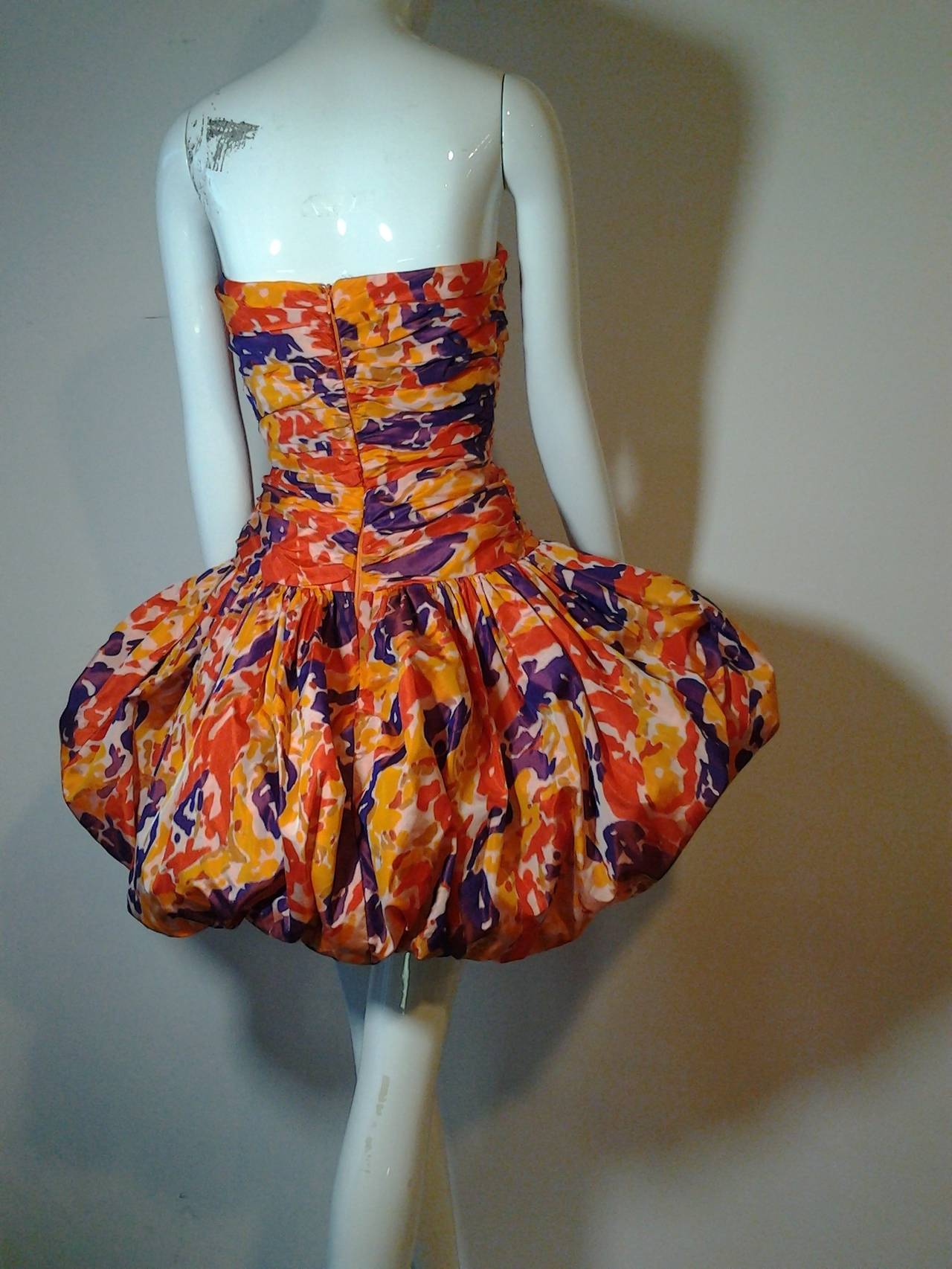 Orange 1980s Bill Blass Silk Floral Print Strapless Pouf Dress For Sale