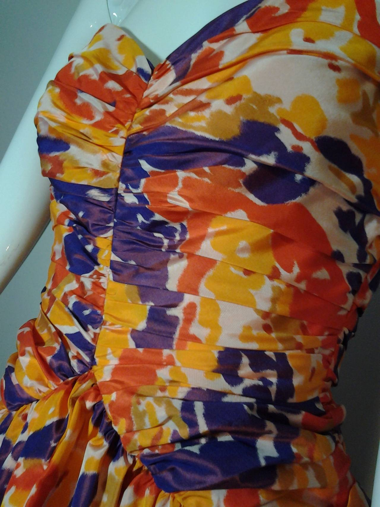 Women's 1980s Bill Blass Silk Floral Print Strapless Pouf Dress For Sale