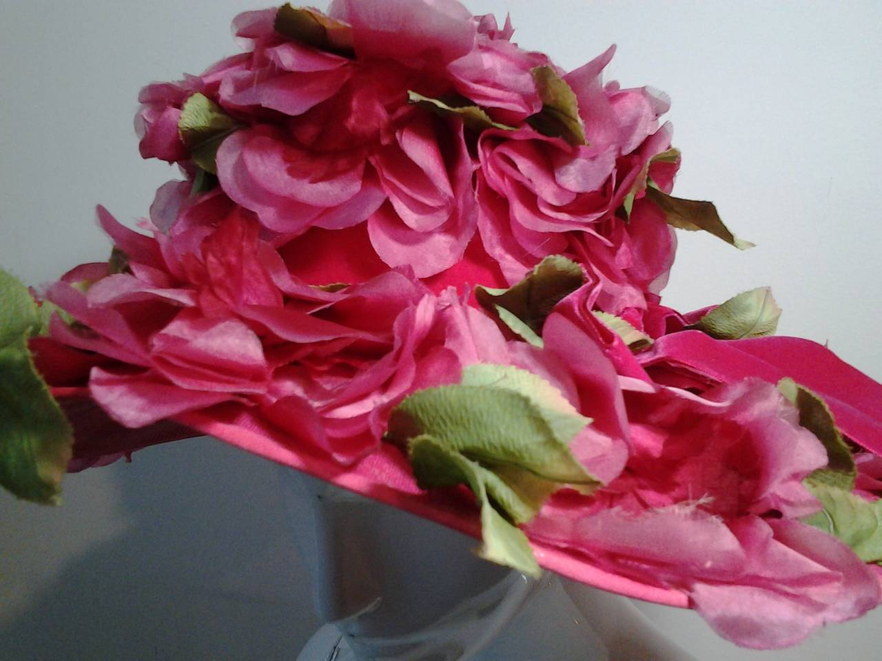 1950s Cathay Hot Pink Silk Floral Wide Brim Hat At 1stdibs