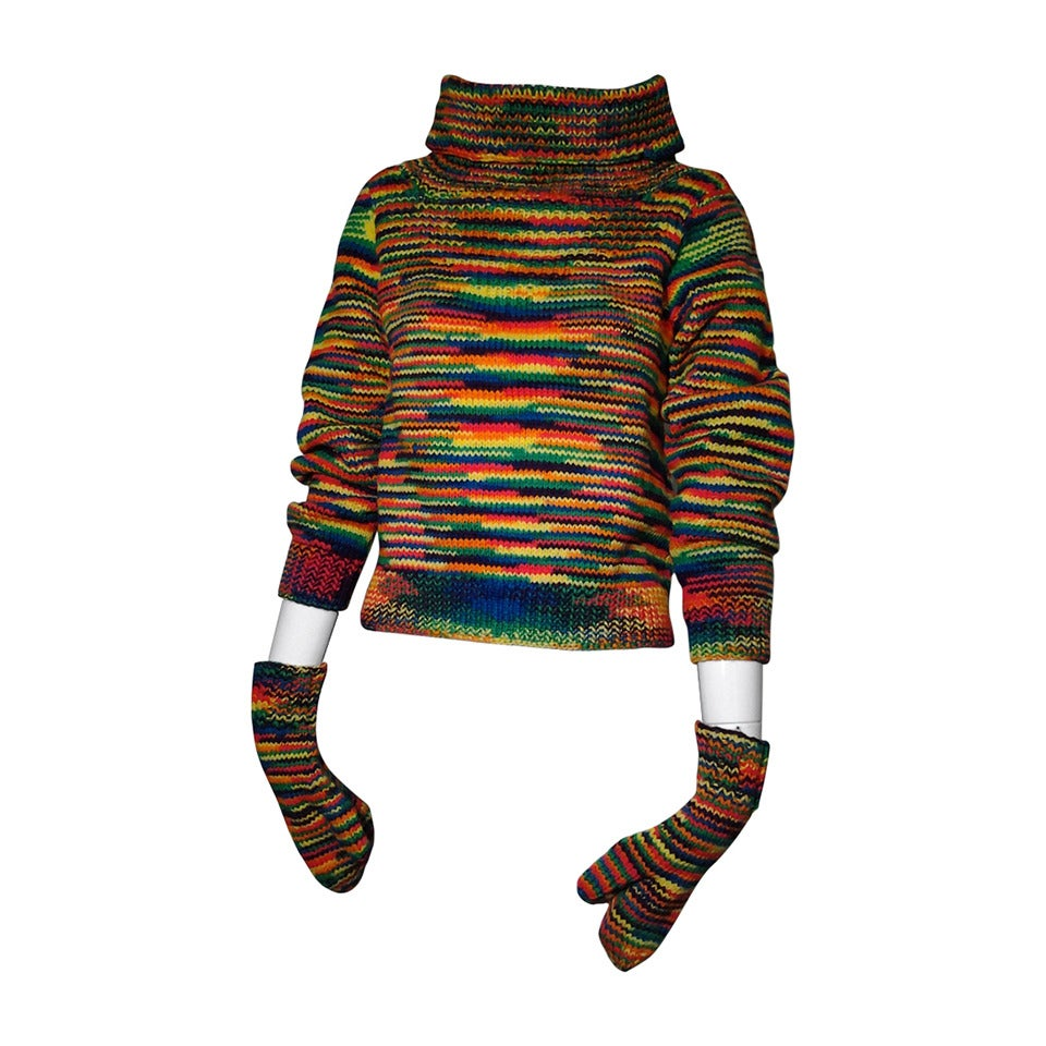 1959 Custom Knit Rainbow Wool Pullover w/ Matching Mittens For Sale