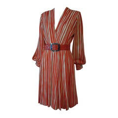 1980s James Galanos Orange Chalk Stripe Plunging V-Neck Wrap Dress