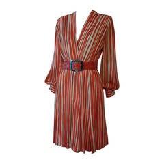 1980s James Galanos Orange Chalk Stripe Plunging V-Neck Wrap Dress