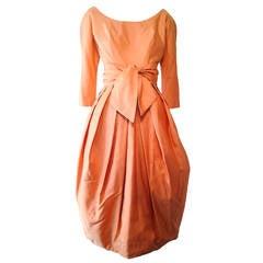1950s Suzy Perette Apricot Silk Taffeta Bubble Hem Cocktail Dress