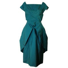 1950s Suzy Perette Emerald Silk Taffeta Cocktail Dress w/ Peplum