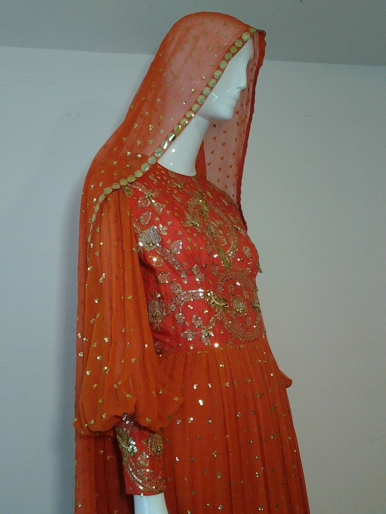 1960s SAZ Ceremonial Sari-Inspired Gown in Silk and Gold Embellishment 4