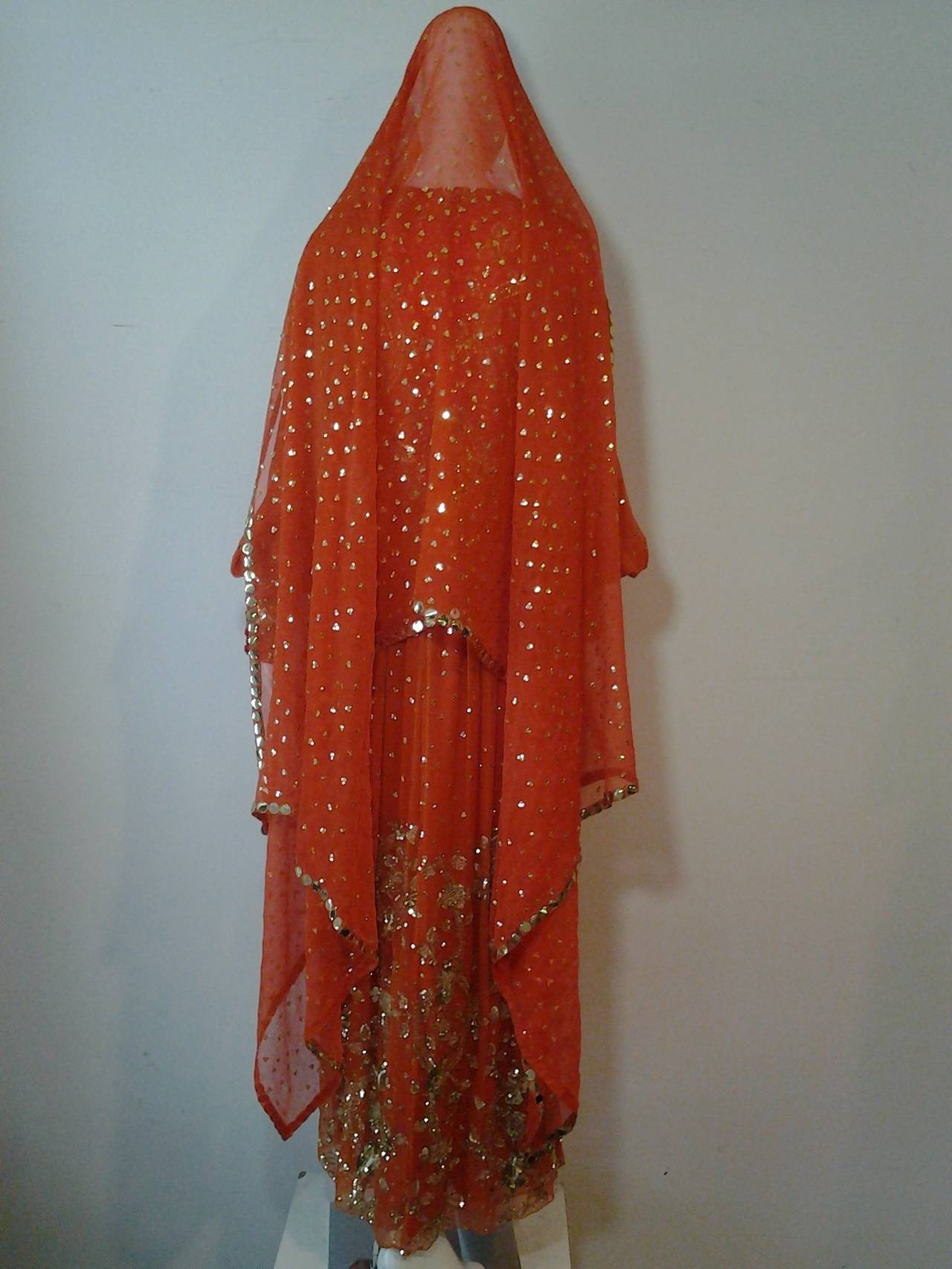 1960s SAZ Ceremonial Sari-Inspired Gown in Silk and Gold Embellishment 3