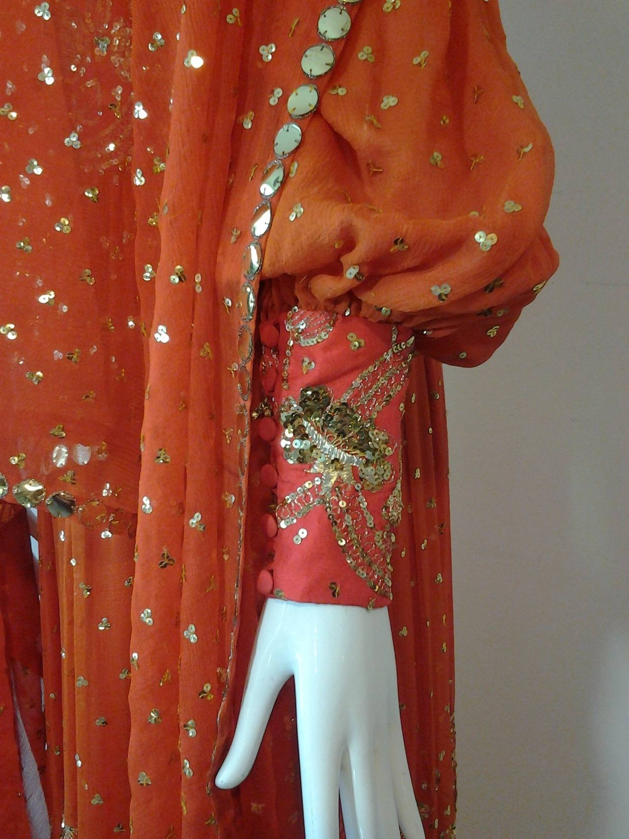 1960s SAZ Ceremonial Sari-Inspired Gown in Silk and Gold Embellishment 5