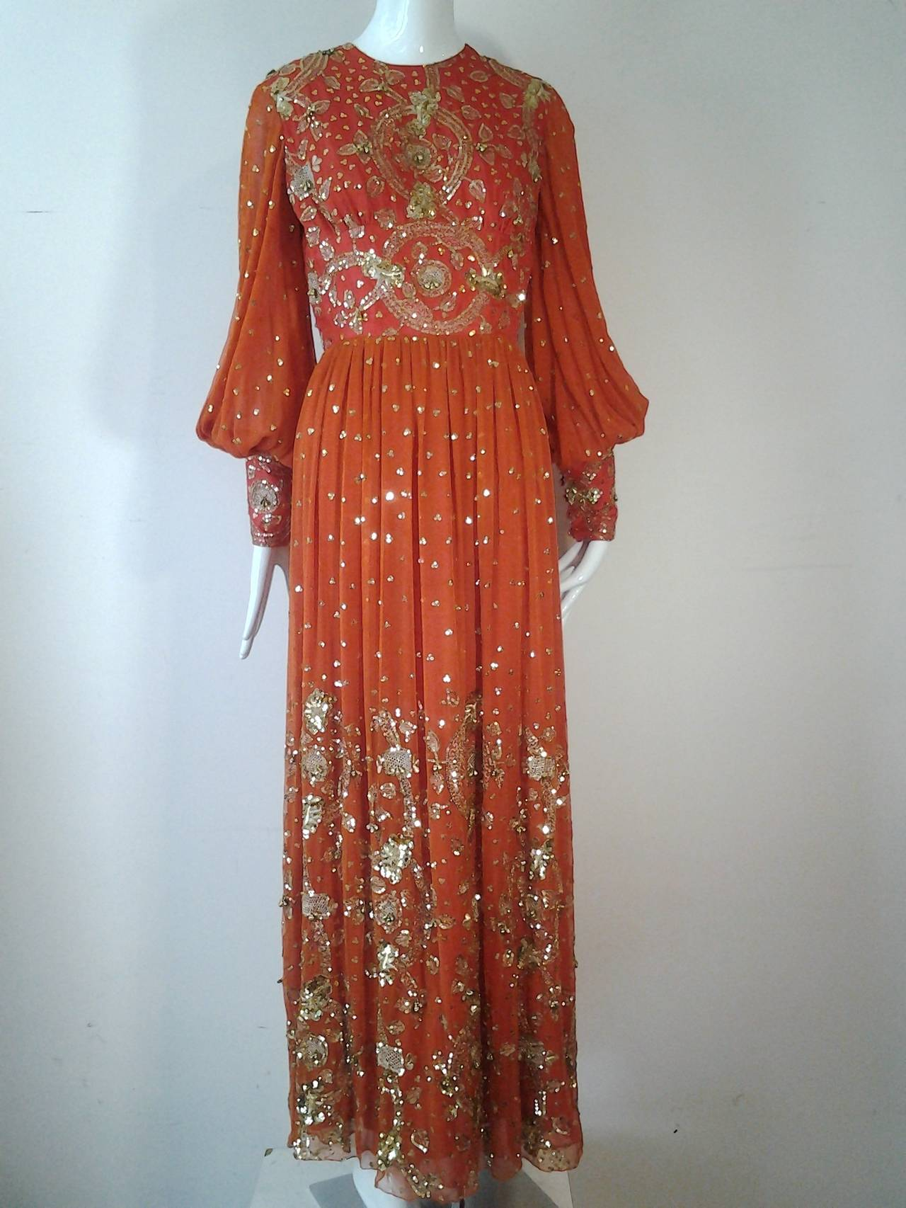 1960s SAZ Ceremonial Sari-Inspired Gown in Silk and Gold Embellishment 2
