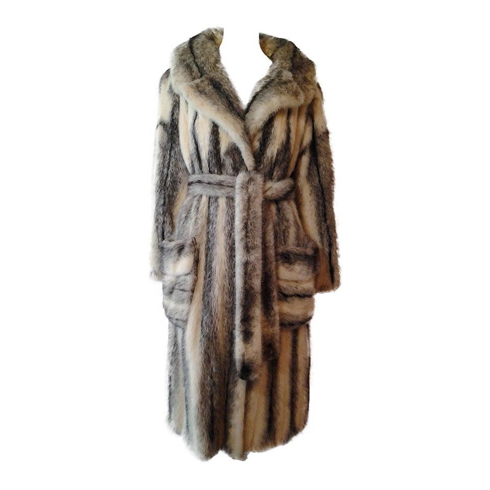 1970s Roberts Gaffney Cross Mink Trench Coat w/ Belt 1
