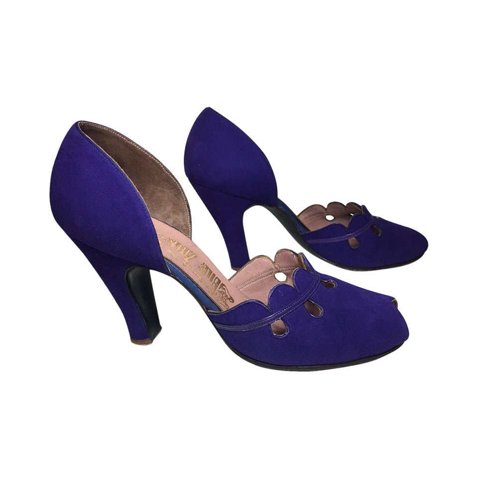 1940s Purple Suede Peep-Toe D'Orsay Pumps