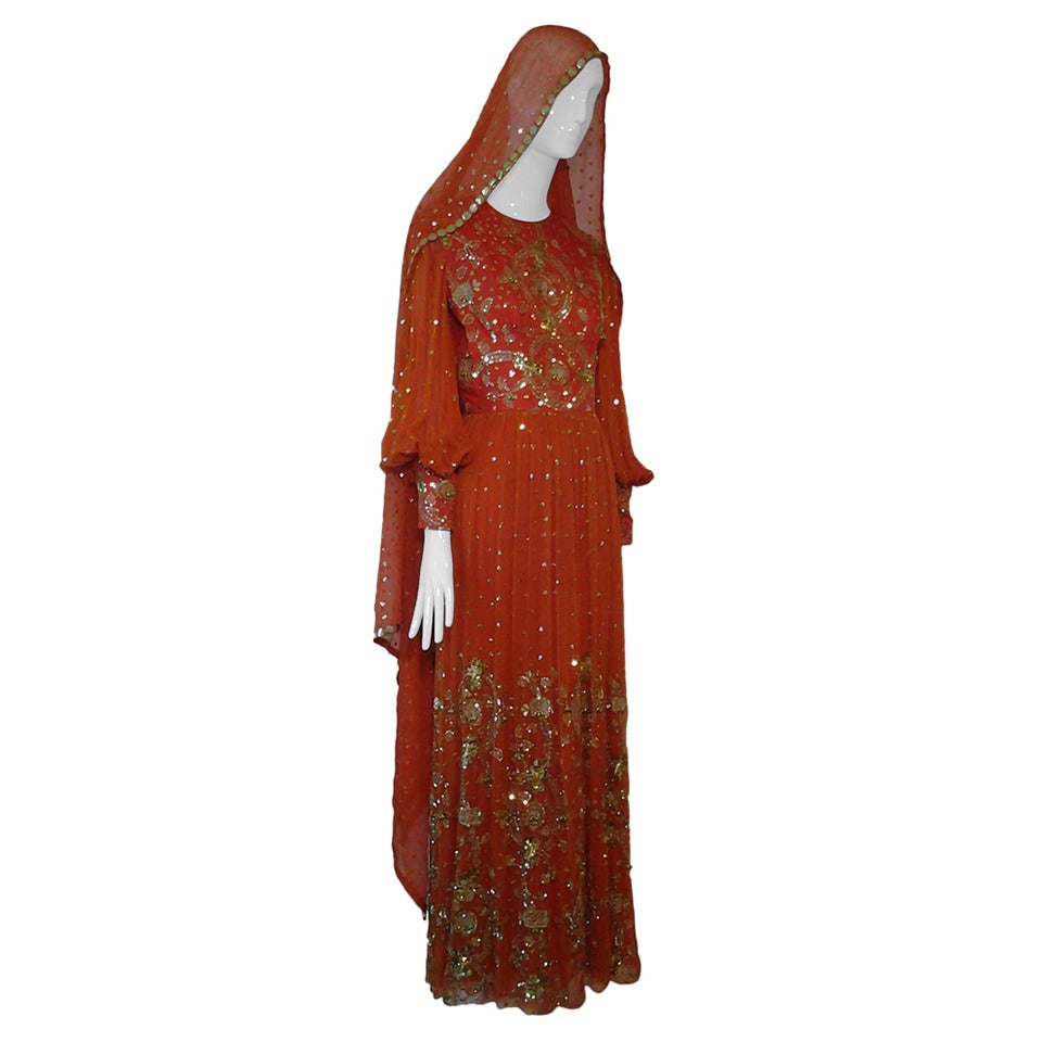 1960s SAZ Ceremonial Sari-Inspired Gown in Silk and Gold Embellishment 1