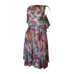 1950s Silk Chiffon Floral Print Cocktail Dress w/ Caplet