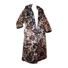 1950s Bonwit Teller Silk Floral Faille Evening Coat