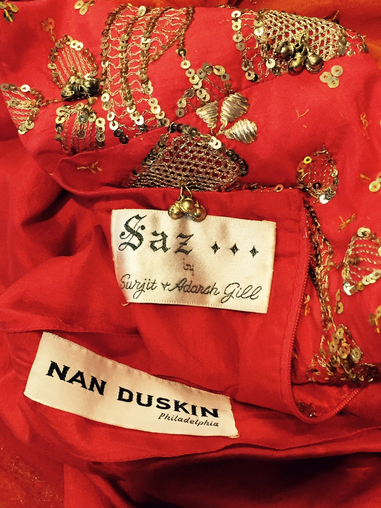 1960s SAZ Ceremonial Sari-Inspired Gown in Silk and Gold Embellishment 6