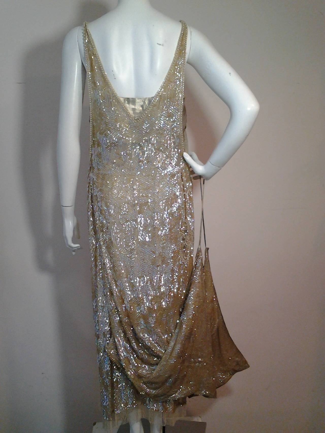 1920s Incredible French Sequined Evening Gown w/ Train Imported by ...