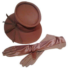 1960s Gene Doris Cappuccino Acetate Hat and Matching Satin/Jersey Gloves