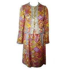 1960s Fern Violette Lame Floral Brocade Cocktail Suit w/ Metallic Trim