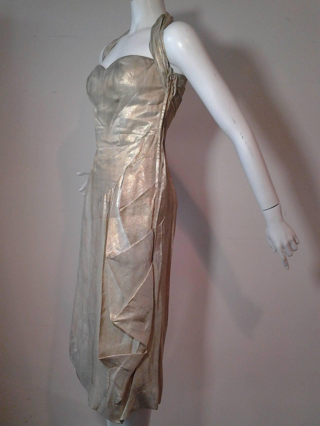 1940s Silver Metal Lame Halter Dress w/ Sarong Draping 5