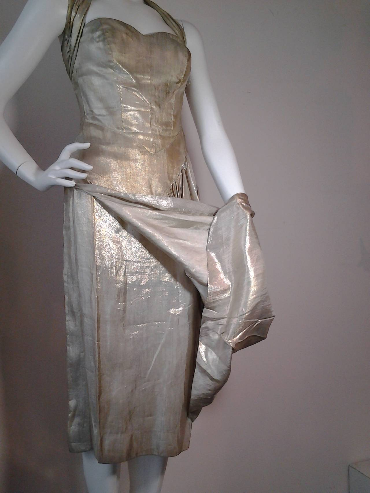1940s Silver Metal Lame Halter Dress w/ Sarong Draping 4