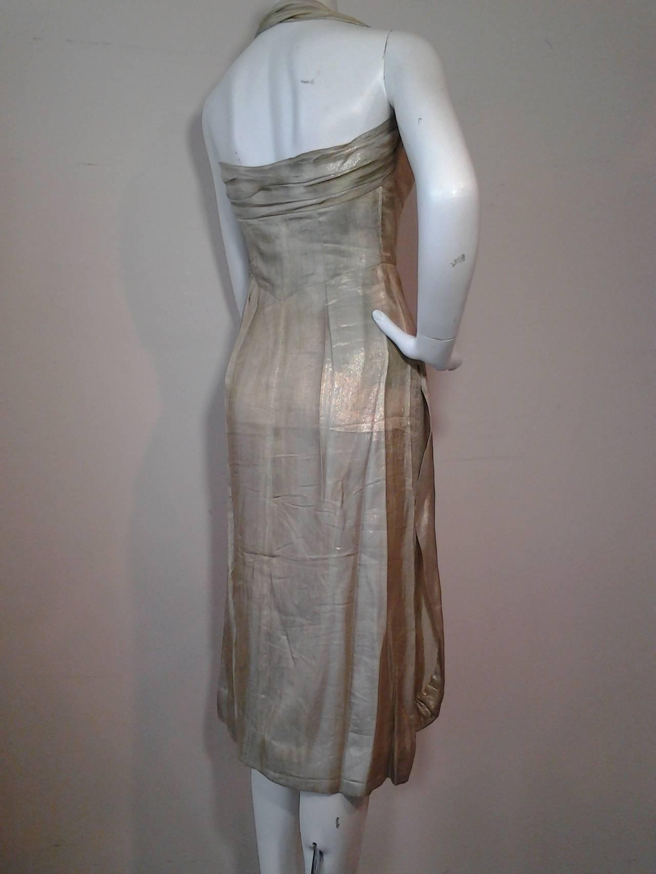1940s Silver Metal Lame Halter Dress w/ Sarong Draping 3