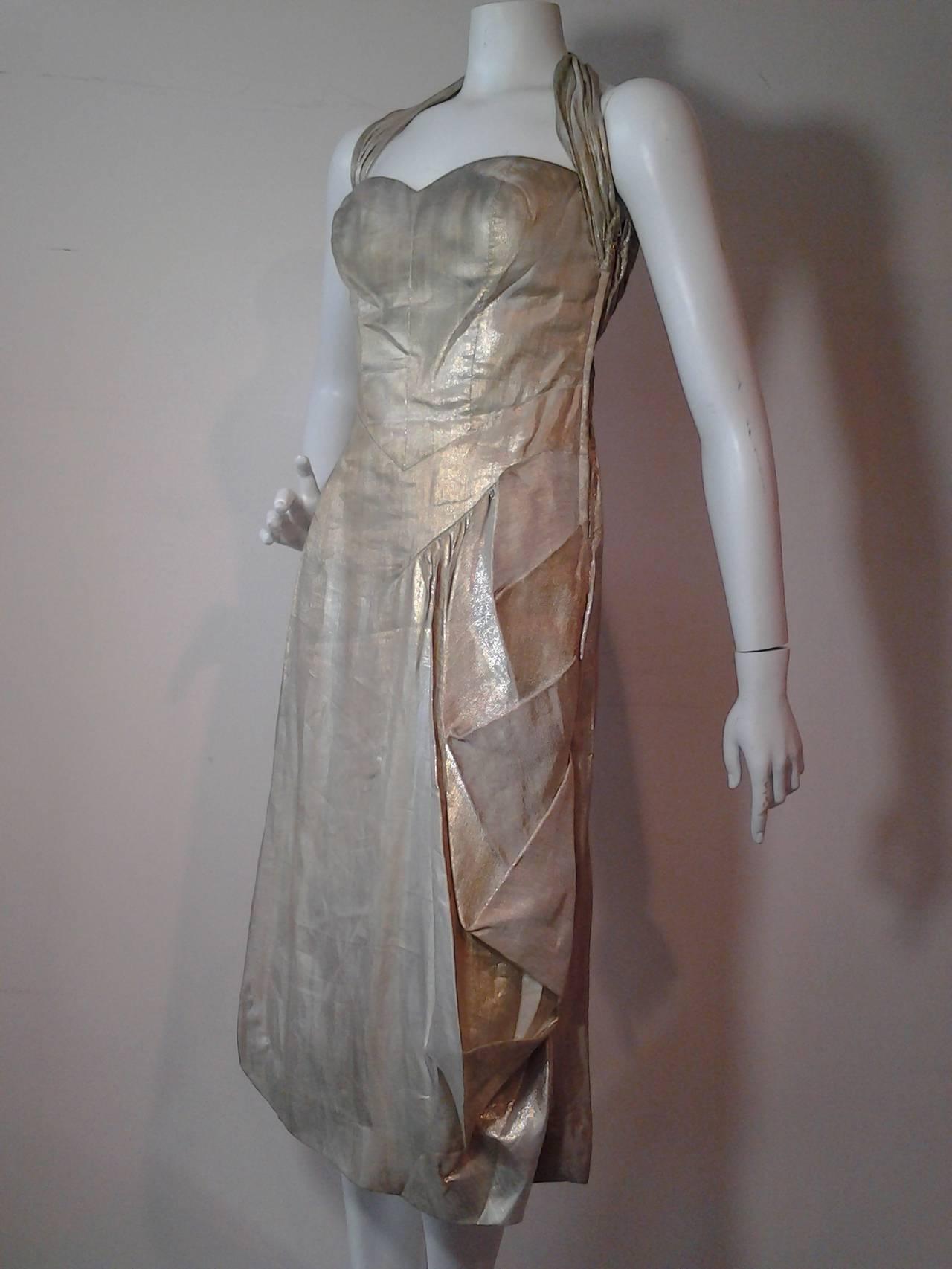 1940s Silver Metal Lame Halter Dress w/ Sarong Draping 2