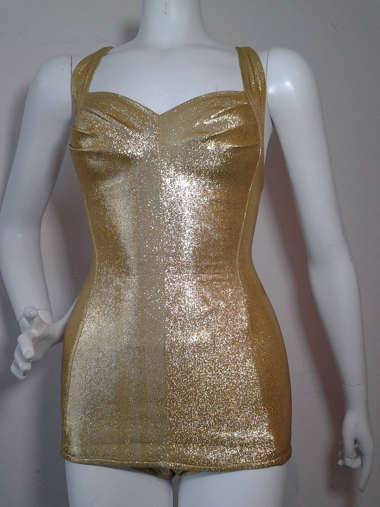1950s Cole of California Pristine Gold Lame SwimSuit 5