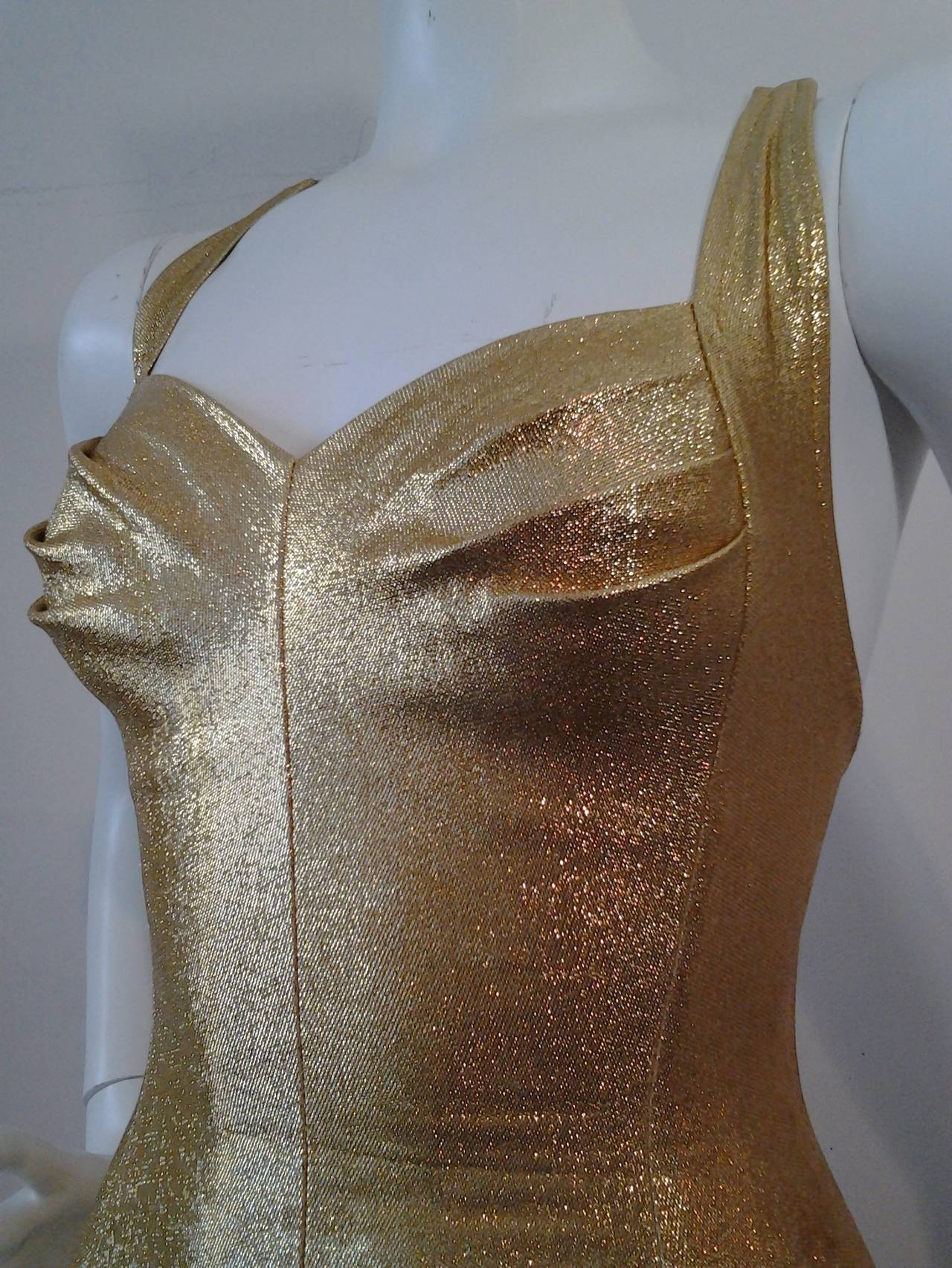 1950s Cole of California Pristine Gold Lame SwimSuit 4