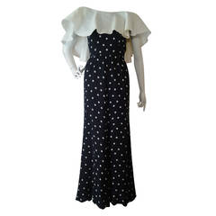 1970s Oscar de la Renta Black Silk PolkaDot Gown w/ Organza Ruffle Collar
